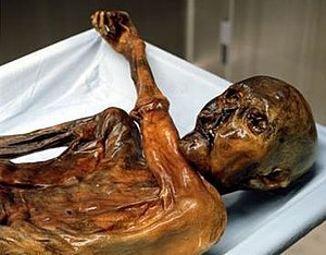Ötzi looking at his wrist watch